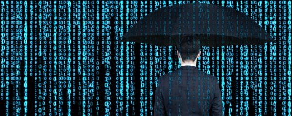 Man standing with an umbrella under binary code raining